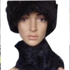 Accessories - Black  Fur Hat And Scarf Set